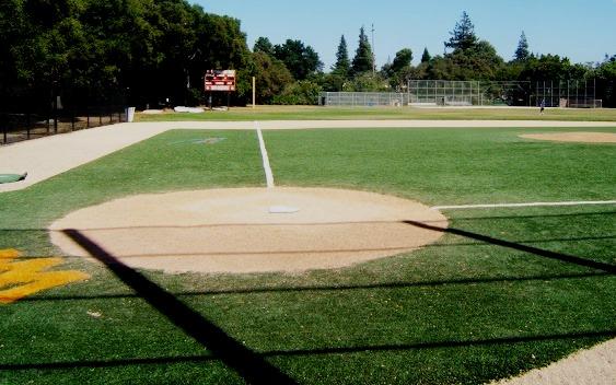 synthetic field turf on a baseball field