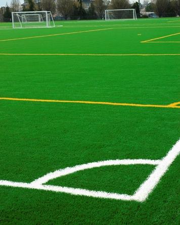 artificial field turf on a soccer field
