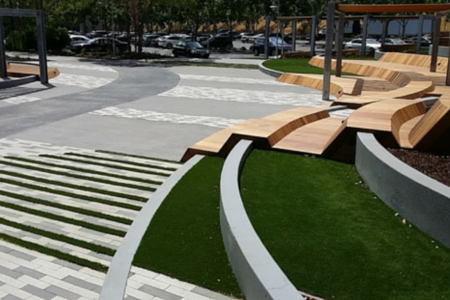 artificial lawn on a commercial campus area