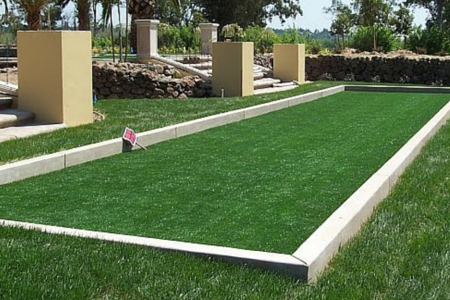 synthetic grass used on a bocce ball court