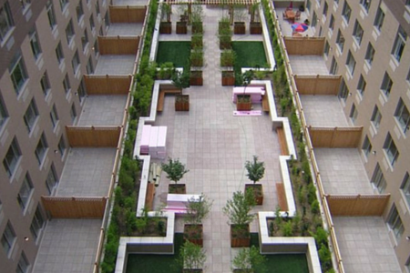 artificial grass in commercial area