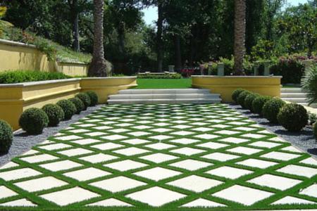 artificial turf in walkway