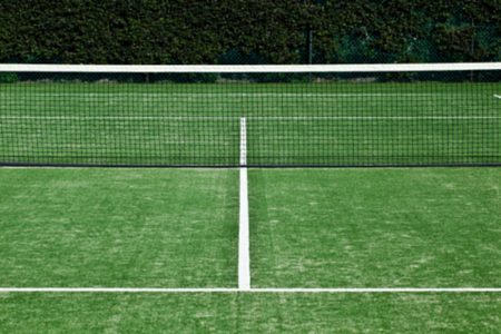 artificial lawn on a tennis court