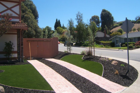 artificial grass on curb area