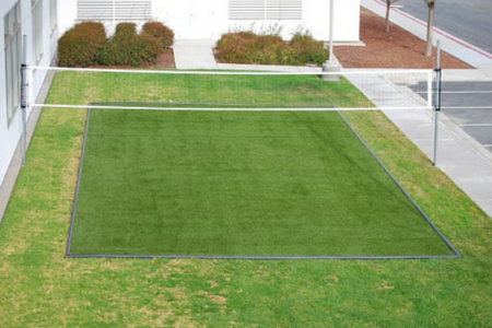 synthetic grass on a volleyball court