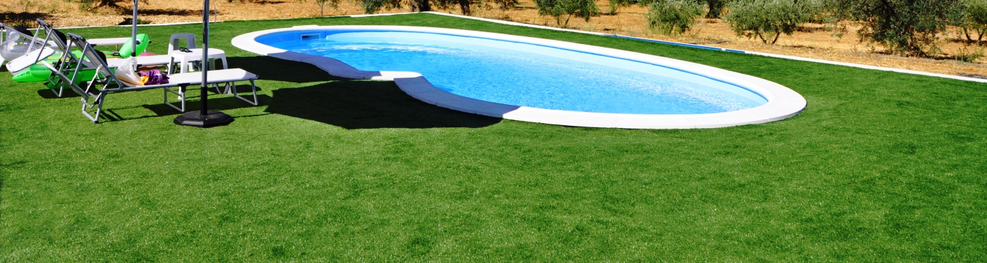 artificial grass around a pool