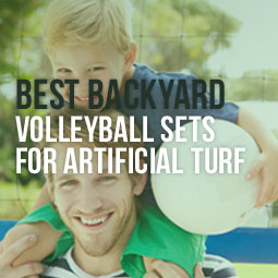 Playing volleyball in backyard on artificial turf