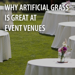 event venue with tables and artificial grass