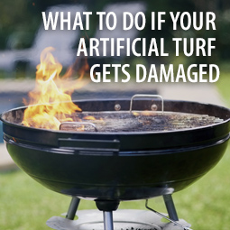 flaming bbq on artifical turf