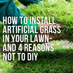 a man installing artificial grass