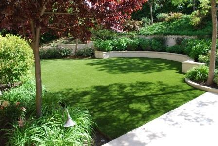 Back yard with artificial turf in san francisco