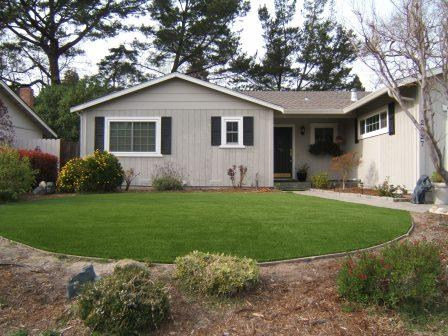 Yard in san francisco that has artificial turf installed