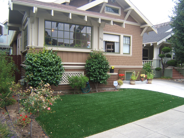 artificial turf installed in an Alamdea, california lawn