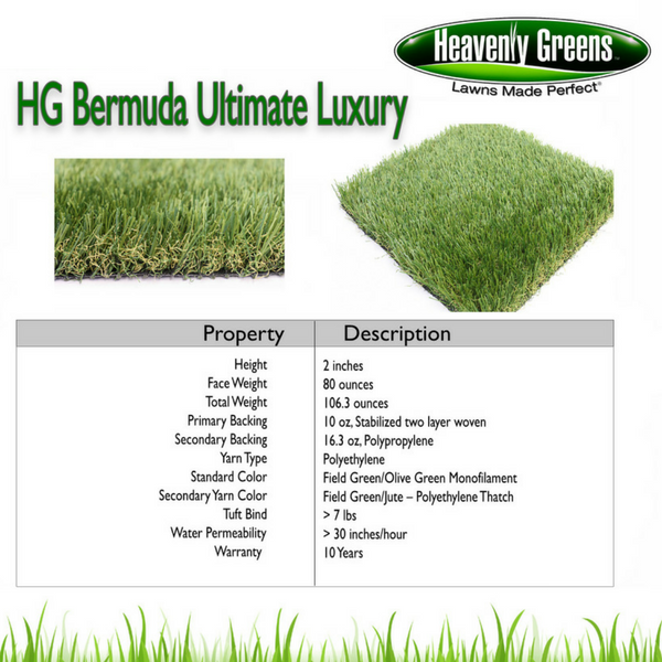 Bermuda Ultimate Luxury Artificial Grass Spec
