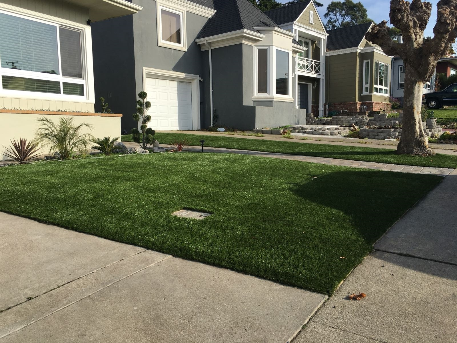 Synthetic grass installed in Daly City, california lawn