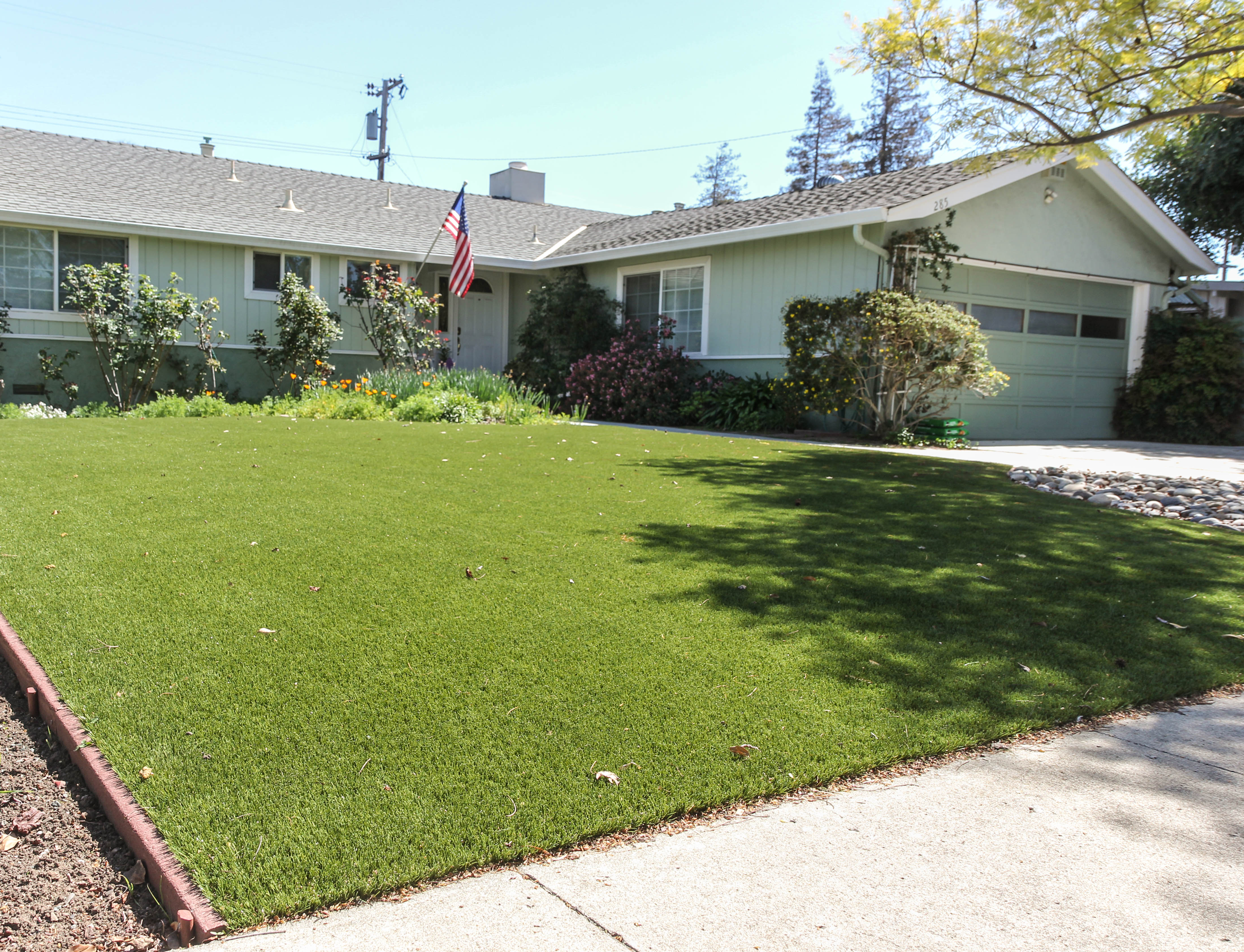 artificial grass installed in a Santa Clara, california yard