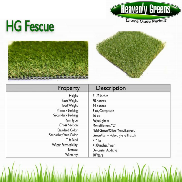 HG Fescue Artificial Grass Spec