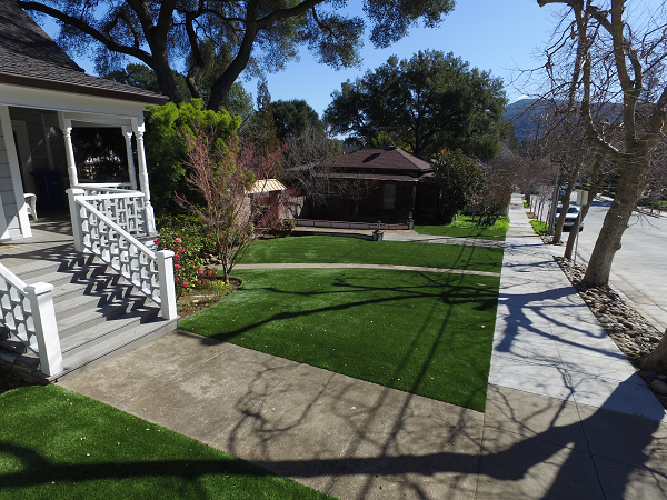 artificial turf installed in an Los gatos, california lawn