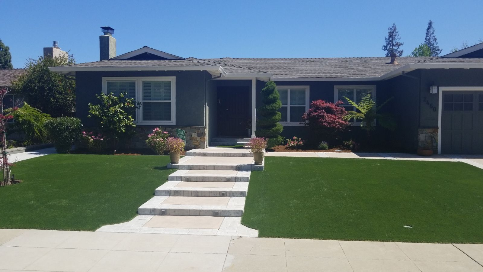 artificial turf installed in an Mountain View, california lawn