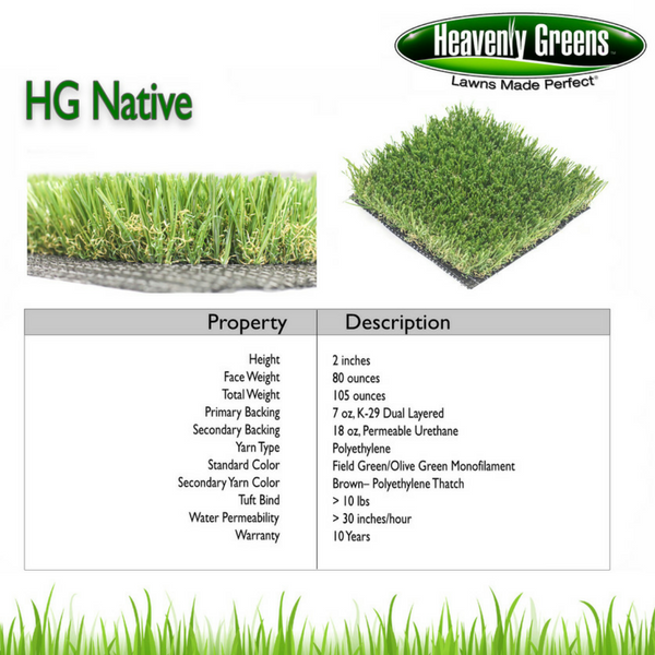 HG Native Artificial Grass Spec