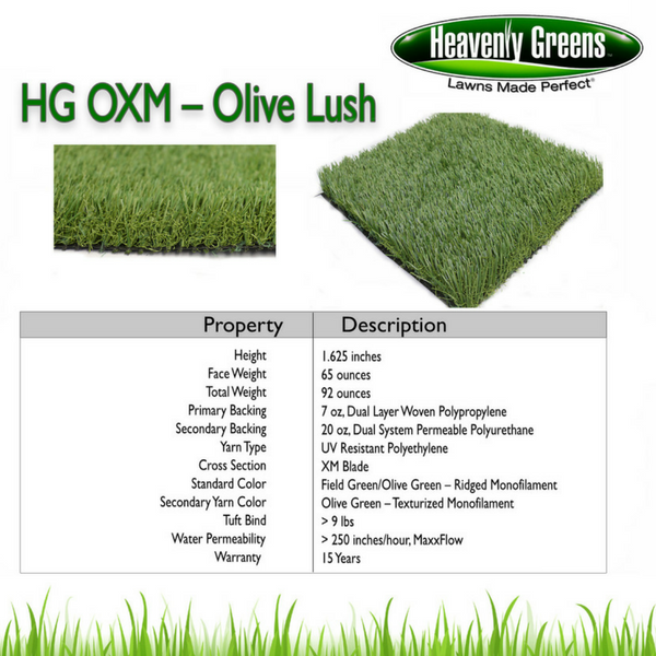 HG OXM Artificial Grass Spec