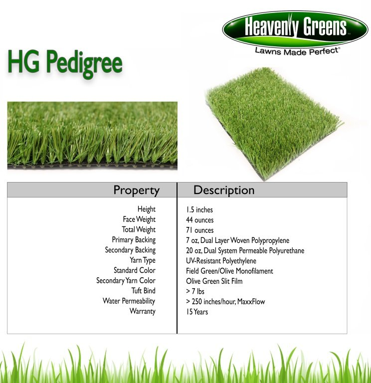 Pedigree Artificial Grass Spec