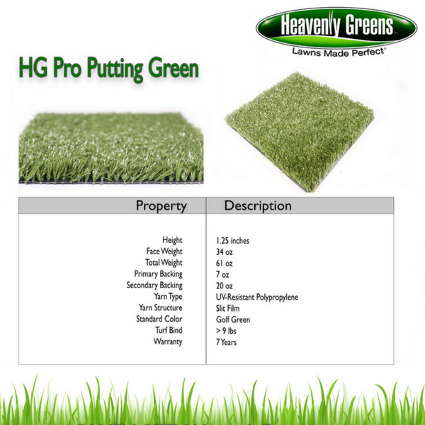 HG Pro Putting Green Grass Specs