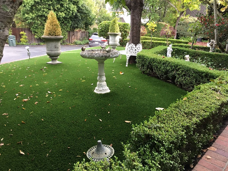 Artificial turf installed on San Carlos, California front yard