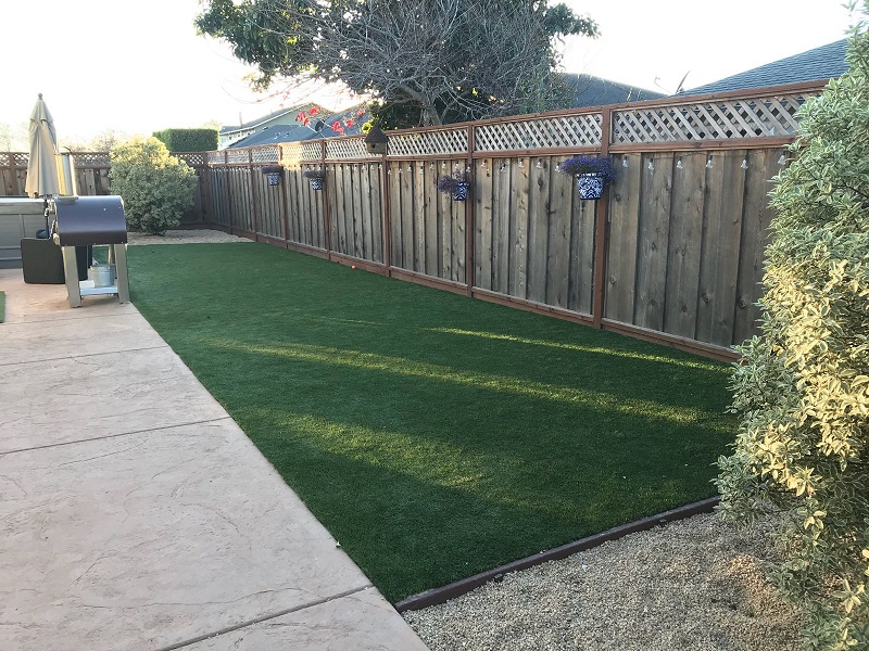 synthetic grass installed in backyard in San Carlos