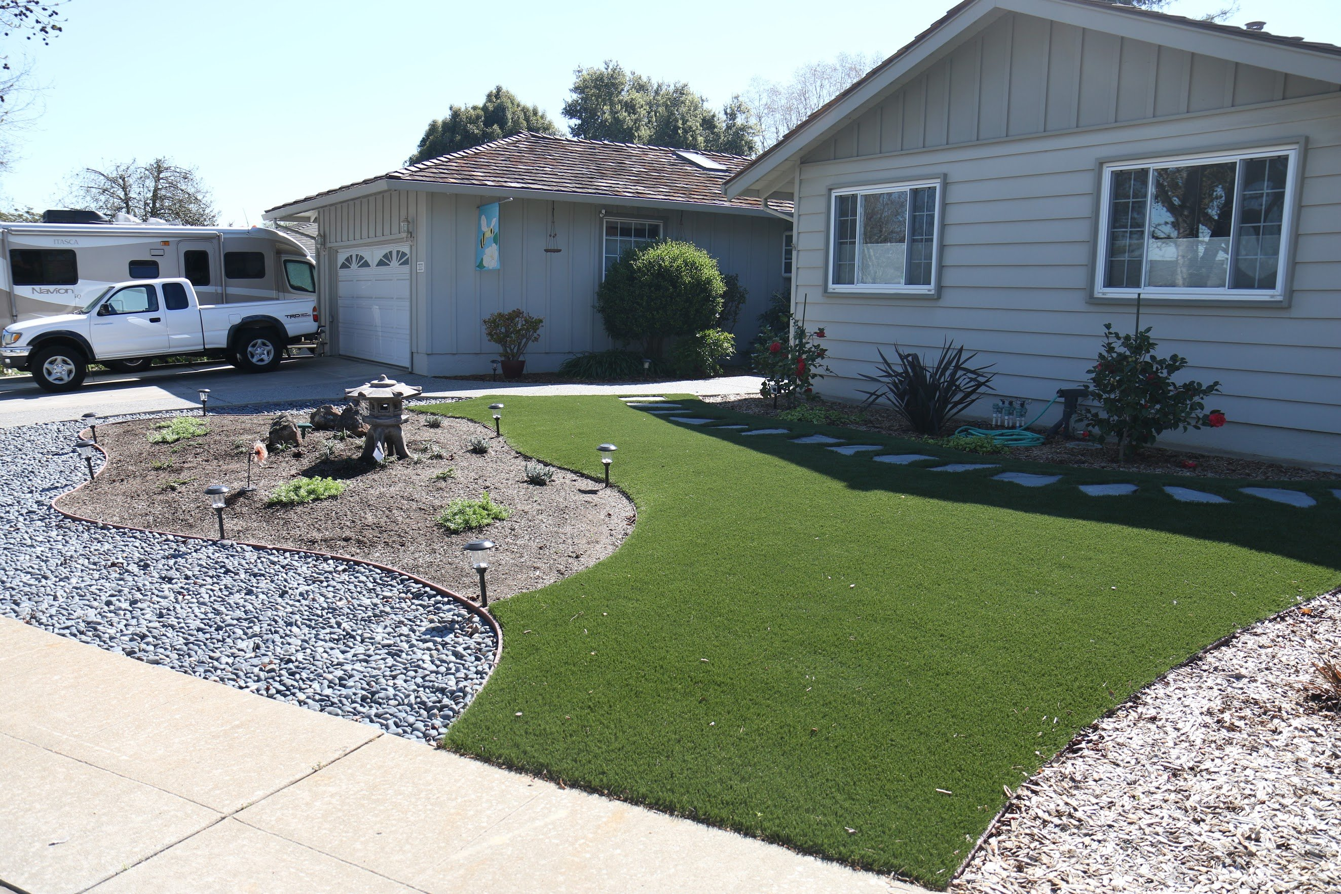 artificial grass installed in an sunnyvale california lawn