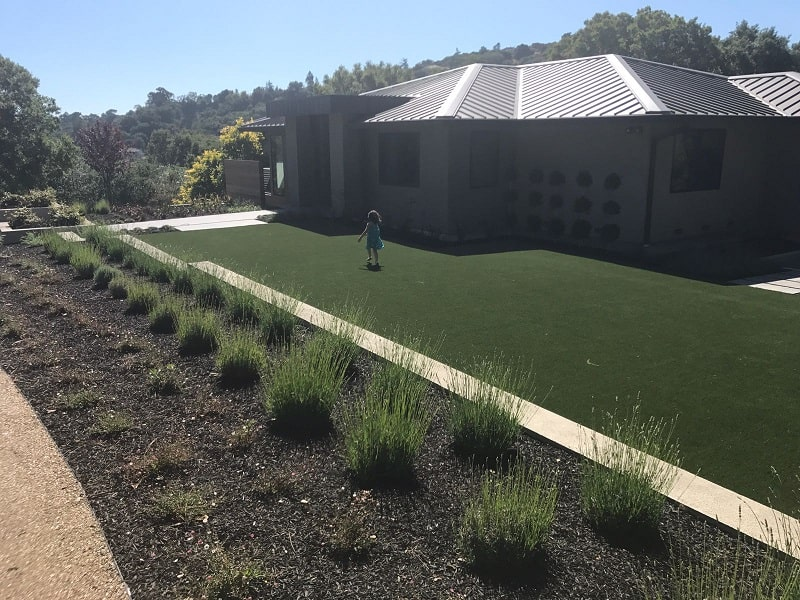 Synthetic grass installed in a Saratoga, california backyard