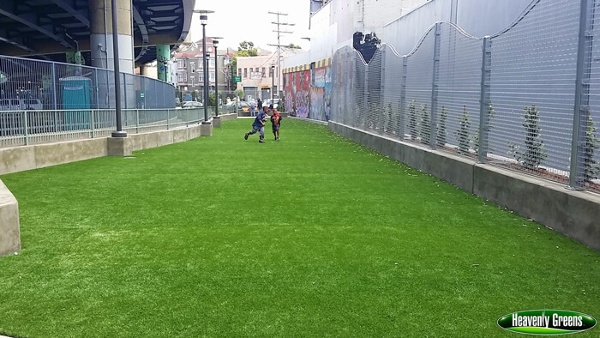 synthetic turf in a city park