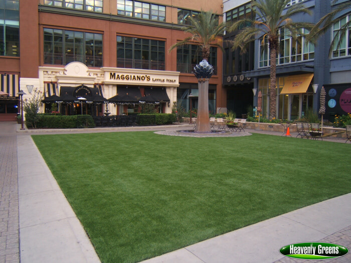 commercial common area with synthetic grass
