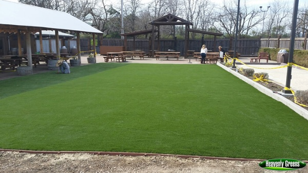 synthetic grass in an event area