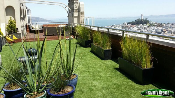 synthetic grass on patio