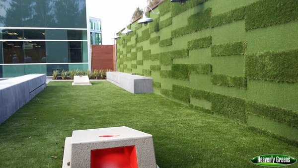 Artificial turf placed on a wall