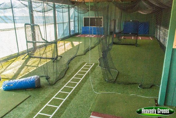 artificial turf in batting cages on campus